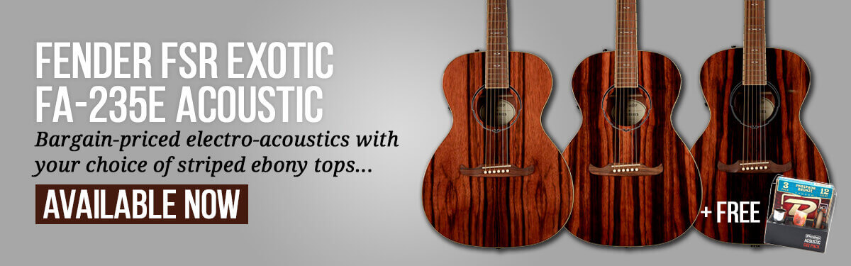Fender FA-235E FSR Exotic Wood Electro-Acoustic Guitar – Striped Ebony