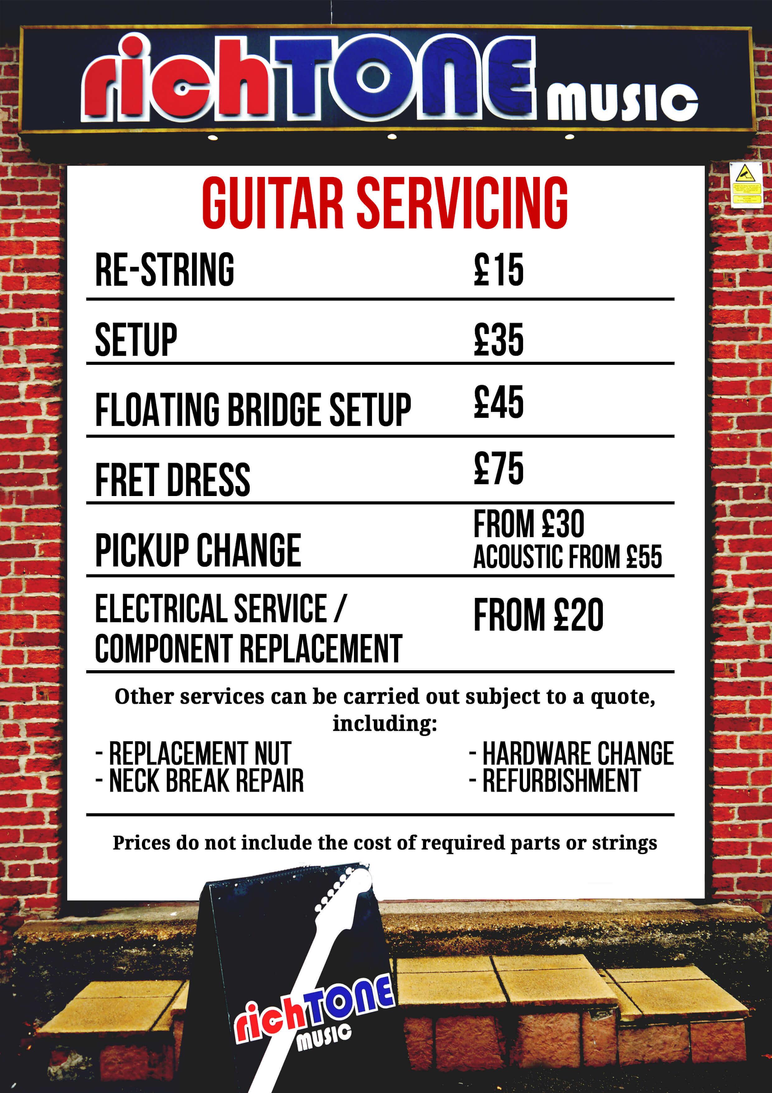 Guitar Servicing Price Menu