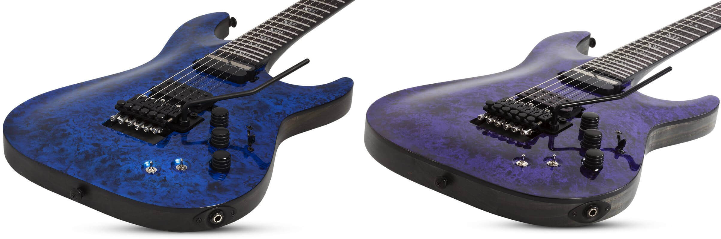 Schecter Blue & Purple Reign finishes