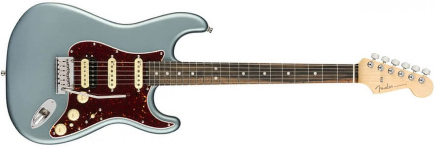 Fender American Elite Stratocaster HSS - Ebony - Satin Ice Blue Metallic